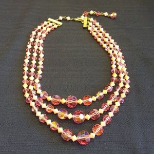 Vintage 1950s Pink Aurora Borealis AB Necklace